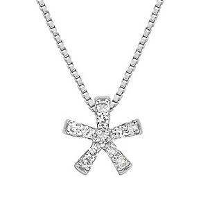 Sterling Silver Diamond Accent Flower Pendant Necklace