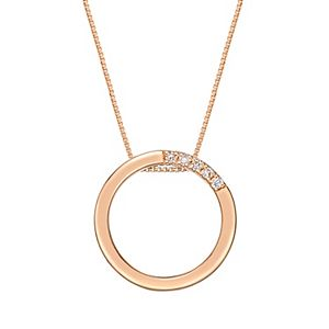 Sterling Silver Diamond Accent Circle Pendant Necklace
