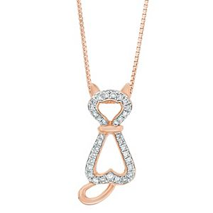 Sterling Silver 1/6 Carat T.W. Diamond Cat Pendant Necklace