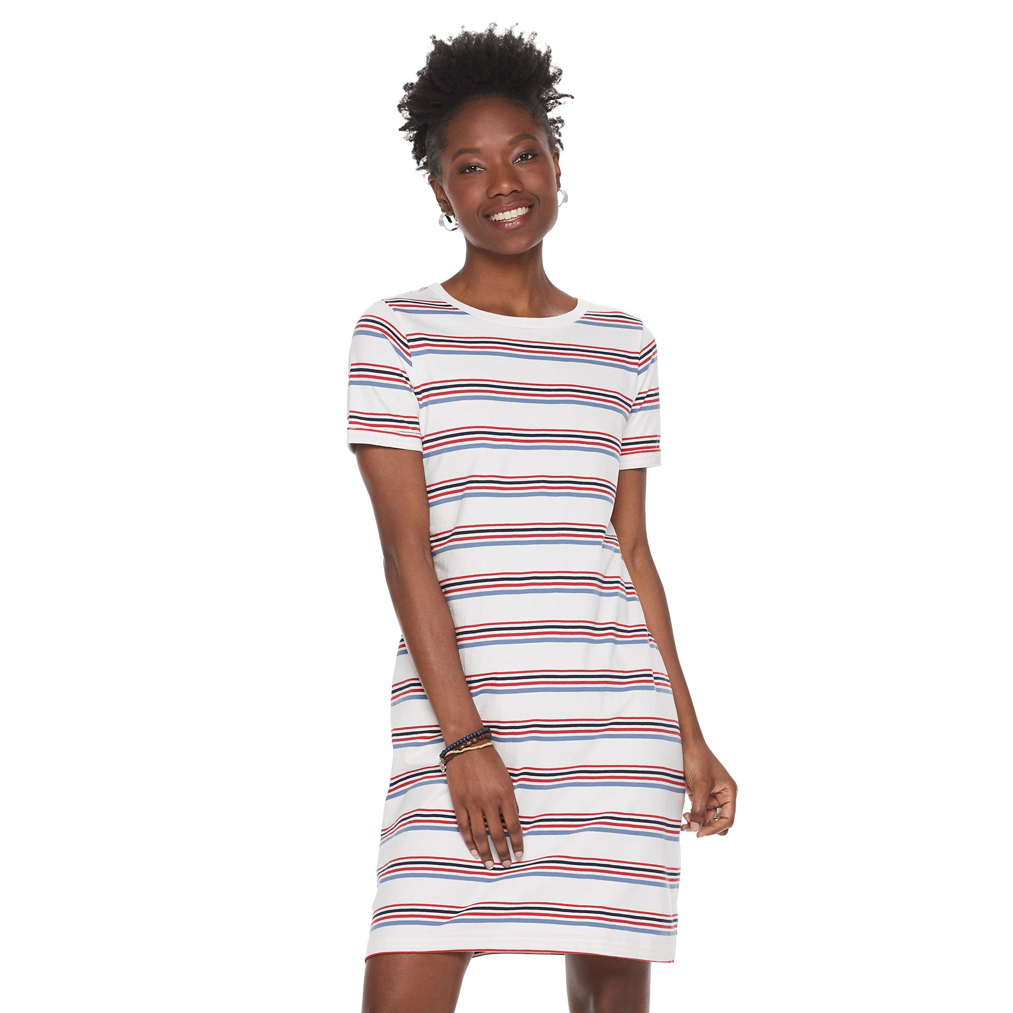 Sonoma Goods For Life Womens Rolled-Sleeve T-Shirt Dress