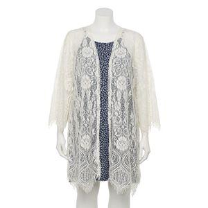 Juniors' Plus Size WallFlower Lace Flyaway Topper with Printed Swing Dress Set