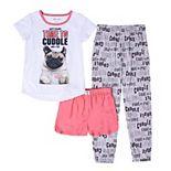 Girls 4-16 Pug Dog Top & Bottoms Pajama Set