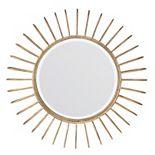 Stonebriar Collection Round Gold Metal Sunburst Wall Mirror