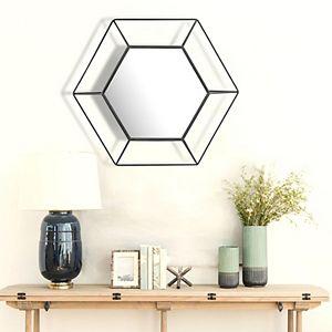 Stonebriar Collection Black Metal Hexagon Frame Wall Mirror