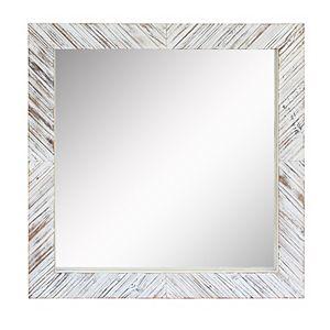 Stonebriar Collection Square White Wooden Chevron Wall Mirror