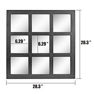 Stonebriar Collection Square 9 Panel Window Pane Wall Mirror