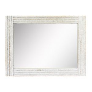 Stonebriar Collection Rectangular White Wood Frame Wall Mirror