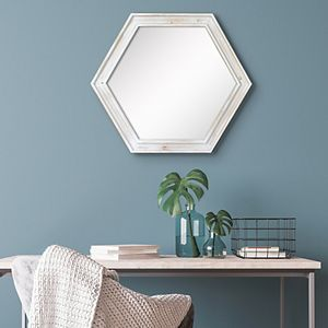 Stonebriar Collection Hexagon Wall Mirror with White Painted Wood Frame