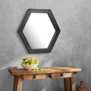 Stonebriar Collection Hexagon Wall Mirror with Black Painted Wood Frame