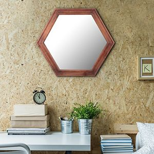 Stonebriar Collection Hexagon Wall Mirror with Redwood Stained Wood Frame