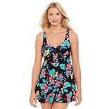 Women's Croft & Barrow® Floral Tummy Slimmer One-Piece Swimdress