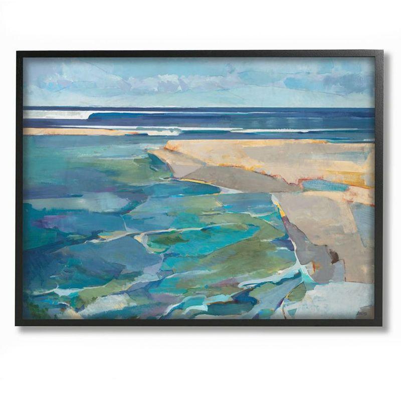 Stupell Home Decor Beach Landscape Cubism Framed Wall Art, Blue, 11X14