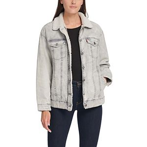 Women's Levi's® Sherpa Oversized Acid Wash Trucker Jacket
