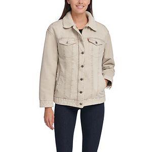 Women's Levi's® Sherpa Oversized Acid Wash Trucker Jacket