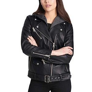 Women's Levi's® Oversized Faux Leather Belted Moto Jacket with Detachable Jersey Hood