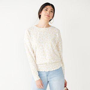 Women's Nine West Smocked Hem Sweatshirt