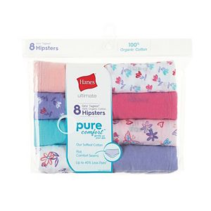 Girls 6-14 Hanes 8-Pack Pure Comfort Hipster