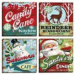 Master Piece Candy Cane Reindeer Santa Snowman Canvas Wall Art 4-piece Set