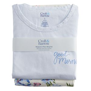 Women's Croft & Barrow® Eyelet Pajama Top & Pajama Pants Set