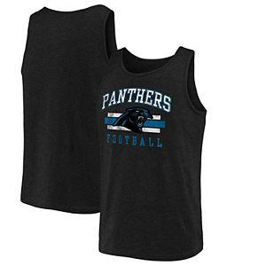 Men's NFL Pro Line by Fanatics Branded Black Carolina Panthers Distressed Logo Tank Top