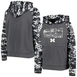Youth Colosseum Charcoal Michigan Wolverines OHT Military Appreciation Digital Camo Raglan Pullover Hoodie