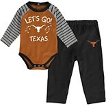 Newborn & Infant Texas Orange/Black Texas Longhorns Touchdown 2.0 Raglan Long Sleeve Bodysuit & Pants Set