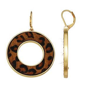 Nine West Gold Tone & Leopard Print Circle Drop Earrings