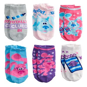 Toddler Girl Nickelodeon Blue's Clues 6 Pack Low-Cut Socks
