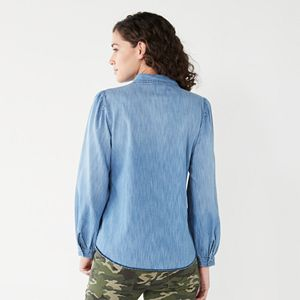 Women's Nine West Balloon Sleeve Utility Shirt