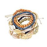 8-pc. Beaded, Shell & Feather Bracelet Set