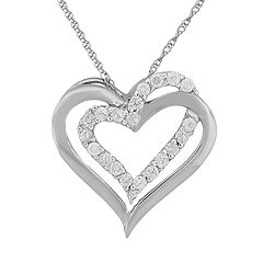 10k White Gold 1/4 ctT.W. Round-Cut Diamond Heart Pendant