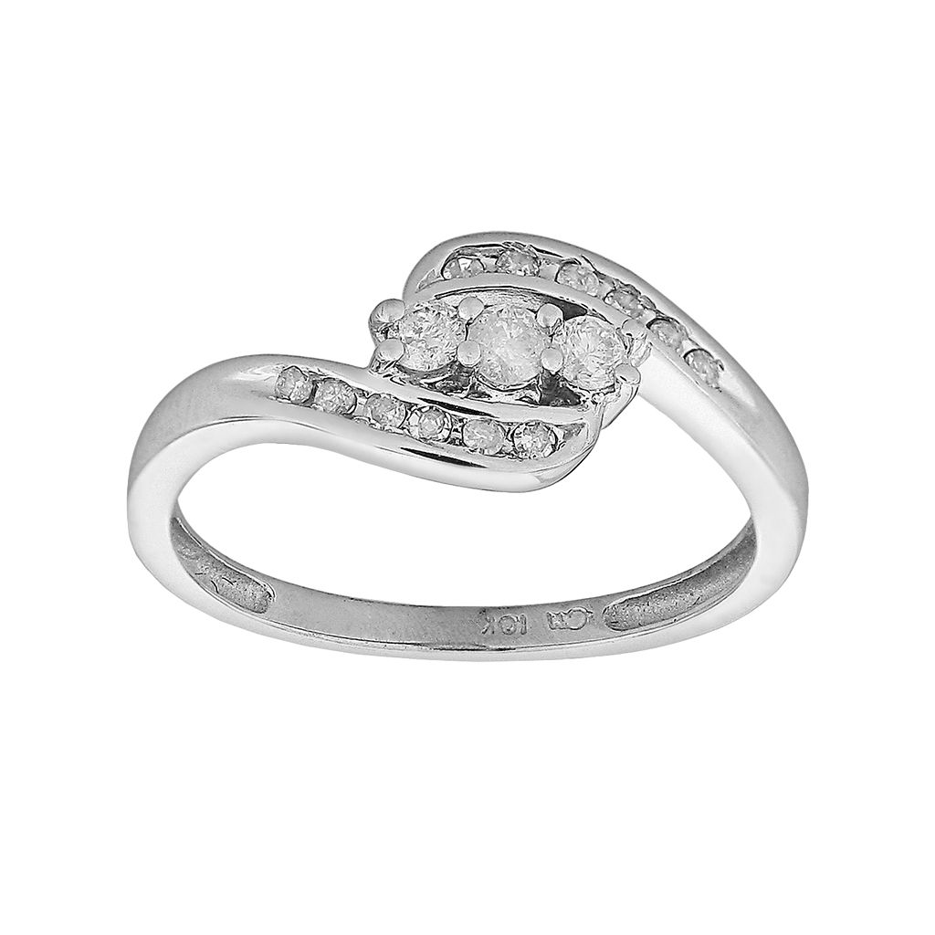 Round-Cut Diamond Bypass Engagement Ring in 10k White Gold (1/4 ct. T.W.)