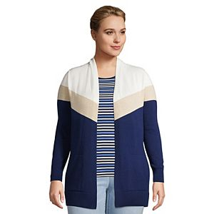 Plus Size Lands' End Colorblock Open-Front Long Cardigan Sweater