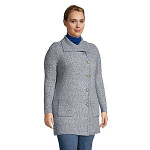 Plus Size Lands' End Textured Button Front Cardigan Sweater