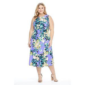 Plus Size Suite 7 Pleat Keyhole Neckline Sleeveless Midi Dress