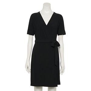 Petite Apt. 9® Elbow Sleeve Faux-Wrap Dress