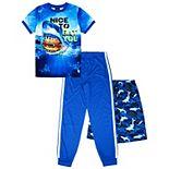 Boys 4-20 Jellifish Top, Shorts & Pants Pajama Set