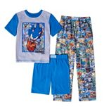 Boys 4-16 Sonic the Hedgehog 3-Piece Tee, Shorts & Pants Pajama Set
