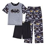 Boys 4-14 DC Comics Batman Top, Shorts & Pants Pajama Set