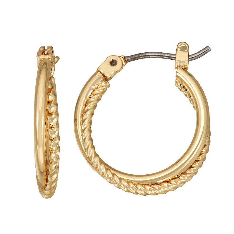 Napier Gold Tone Small Textured Hoop Earrings. Women's