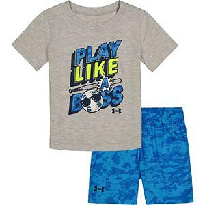 "Toddler Boy Under Armour ""Play Like A Boss"" Tee & Shorts Set"