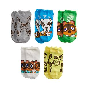Boys Nintendo Animal Crossing 5-Pack No-Show Socks