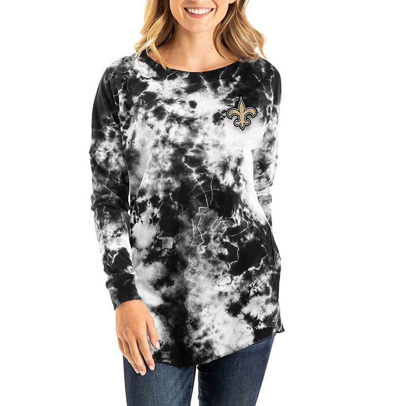 Women's New Era Black New Orleans Saints Tie-Dye Long Sleeve T-Shirt, Size: Medium