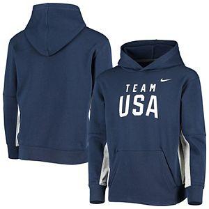 Girls Youth Nike Navy Team USA Fleece Pullover Hoodie