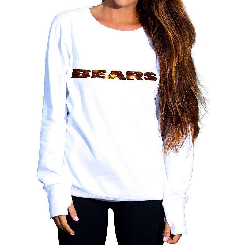 Women's Cuce White Chicago Bears Touchback II Fleece Pullover Sweatshirt, Size: Medium