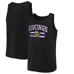Men's NFL Pro Line by Fanatics Branded Black Minnesota Vikings Distressed Logo Tank Top
