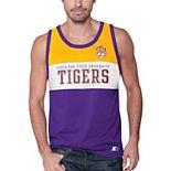 Men's Starter Purple LSU Tigers Colorblock Highlight Tank Top