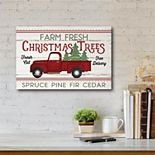 Courtside Market Truck With Christmas Trees Canvas Wall Decor