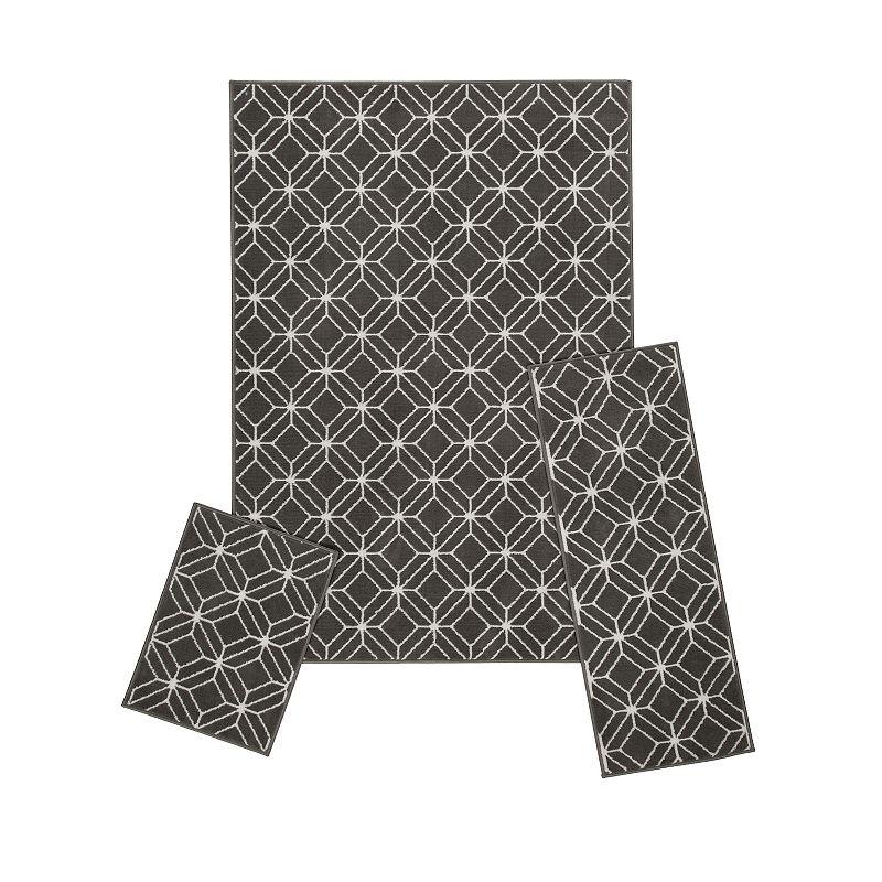 Achim Capri Zara 3-Piece Rug Set, Grey, 3PC Set