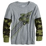 Boys 4-12 Jumping Beans® Fighter Jet Camouflaged Thermal Sleeve Graphic Tee in Regular, Slim & Husky